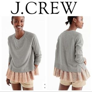 JCrew Merino Gray Wool Sweater with Rose Gold Lame